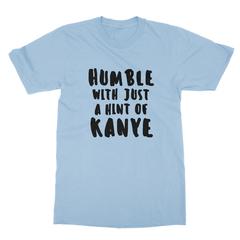 Humble kanye black print baby blue men tshirt