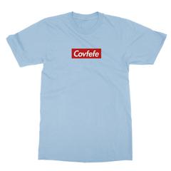 Covfefe box logo baby blue men tshirt