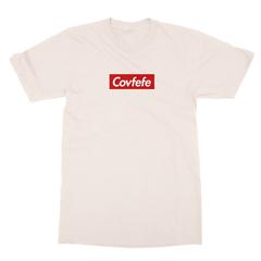 Covfefe box logo cream men tshirt