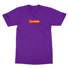 Covfefe box logo purple men tshirt