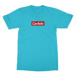 Covfefe box logo turquoise men tshirt