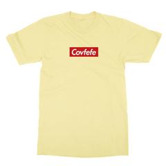 Covfefe box logo yellow men tshirt