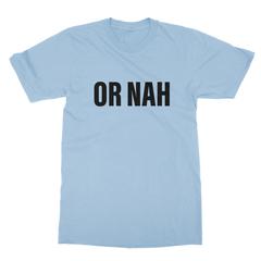 Or nah black print baby blue men tshirt