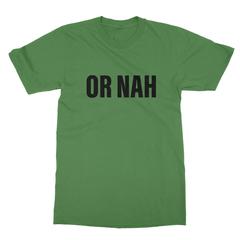 Or nah black print leaf green men tshirt