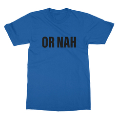 Or nah black print royal blue men tshirt