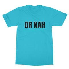 Or nah black print turquoise men tshirt