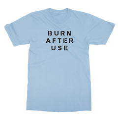 Burn after use baby blue men tshirt