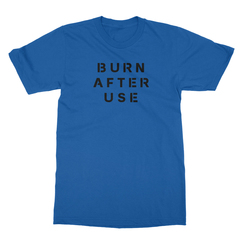 Burn after use royal blue men tshirt