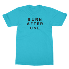 Burn after use turquoise men tshirt