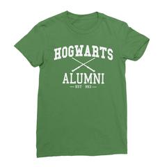 Hogwarts alumni leaf green women tshirt