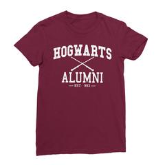 Hogwarts alumni maroon women tshirt