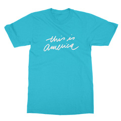 This is america turquoise men tshirt