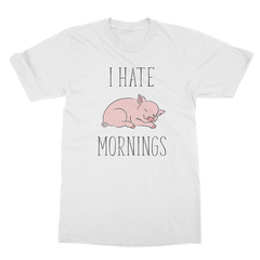 I Hate Mornings Pig (Black Print) Men's T-Shirt