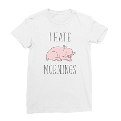 I Hate Mornings Pig (Black Print) Women's T-Shirt