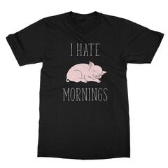 I Hate Mornings Pig (White Print) Men's T-Shirt